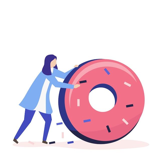 Charakter einer frau, die eine riesige donutillustration rollt