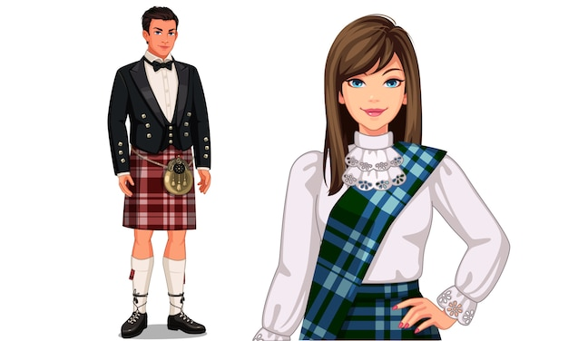 Charakter eines schottischen paares mit traditionellem outfit