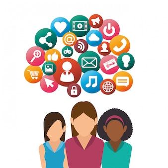 Charakter frau social media isoliert design
