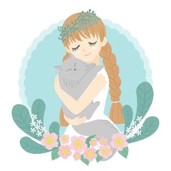 Charakter frau umarmt katze im arm glückliches gesicht blumenstrauß hintergrund