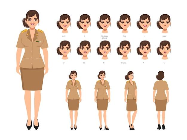 Charakter für die animation mit einer reihe von gesichtern und posen