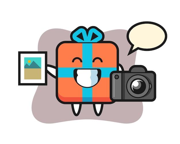 Charakter geschenkbox als fotograf