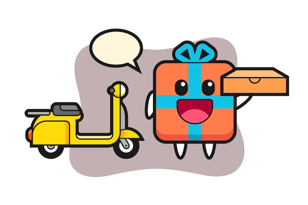 Charakter geschenkbox als pizza lieferbote
