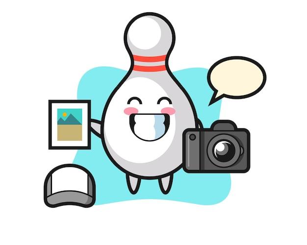 Charakter-illustration von bowling-pin als fotograf, süßes design für t-shirt, aufkleber, logo-element