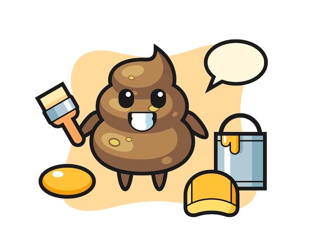 Charakter-illustration von poop als maler, süßes design für t-shirt, aufkleber, logo-element