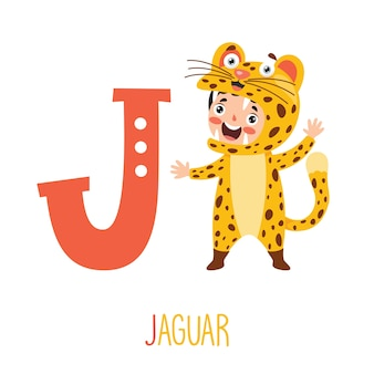Charakter im tierkostüm, das alphabetbuchstaben zeigt