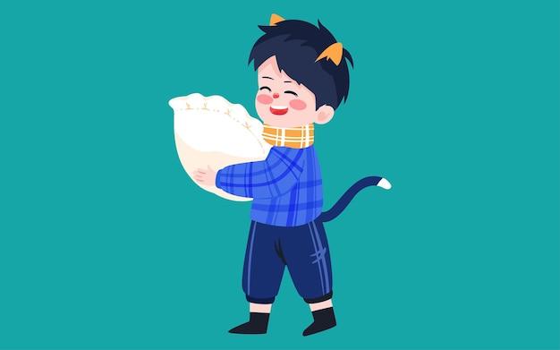 Charakter isst knödel illustration wintersonnenwende sonnenbedingungen frühlingsfest essen poster