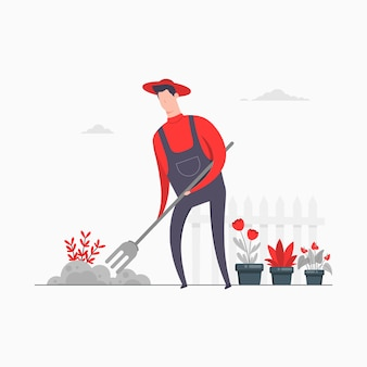 Charakter-konzept-illustration kultivieren feldlandwirtschaft, die gartenblumenpflanzen bewirtschaftet