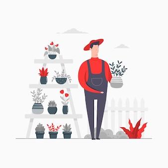 Charakter-konzept-illustrations-landwirtschaft, die gartenblumenpflanzen bewirtschaftet