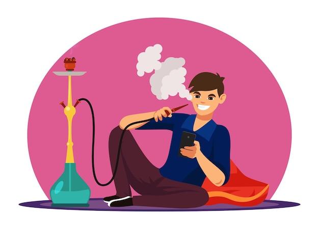 Charakter mann rauchen shisha pfeife