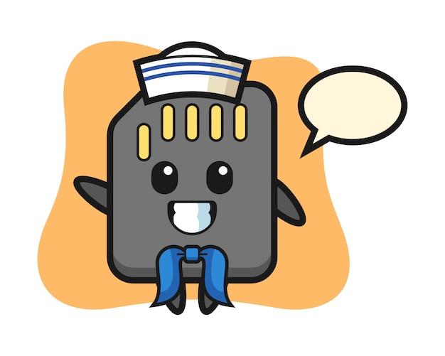 Charakter maskottchen der sd-karte als seemann mann, niedlichen stil design für t-shirt