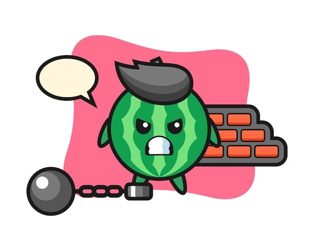 Charakter maskottchen der wassermelone als gefangener
