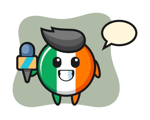 Charakter-maskottchen des irischen flaggenabzeichens als nachrichtenreporter
