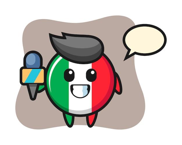 Charakter-maskottchen des italienischen flaggenabzeichens als nachrichtenreporter, niedlicher stil, aufkleber, logoelement