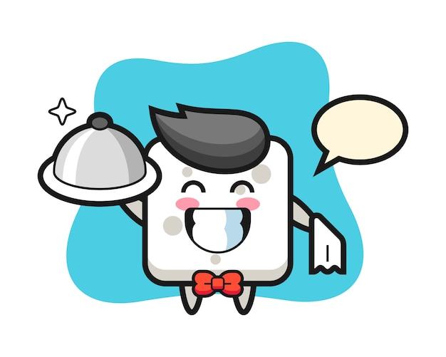 Charakter maskottchen des zuckerwürfels als kellner, niedlicher stil für t-shirt, aufkleber, logoelement
