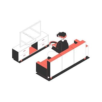Charakter mit virtual-reality-brille und rad, der isometrisches rennspiel spielt