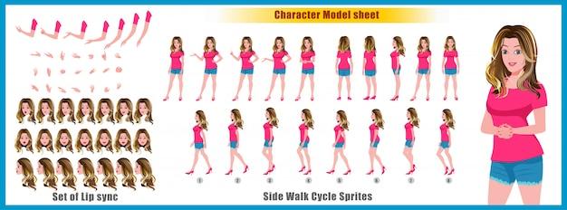 Charakter-modellblatt des jungen mädchens mit wegzyklusanimationen und lippensynchronisierung