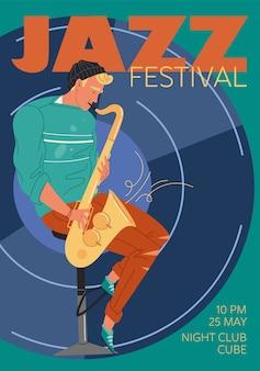 Charakter musik band, jazz, rock, blues stilvolle banner poster web online-konzept.