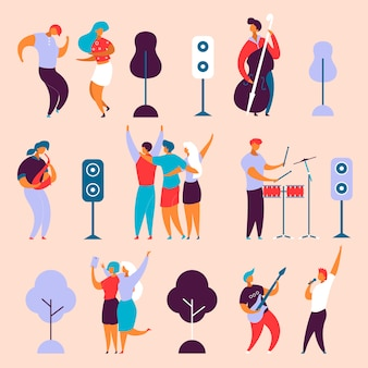 Charakter-musikband der modernen karikatur flachen