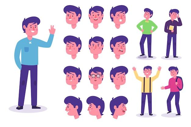 Charakter posiert mit verschiedenen outfits