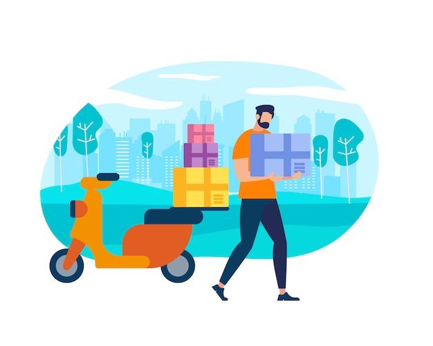 Charakter-postbote-kurier mit paket auf motorrad