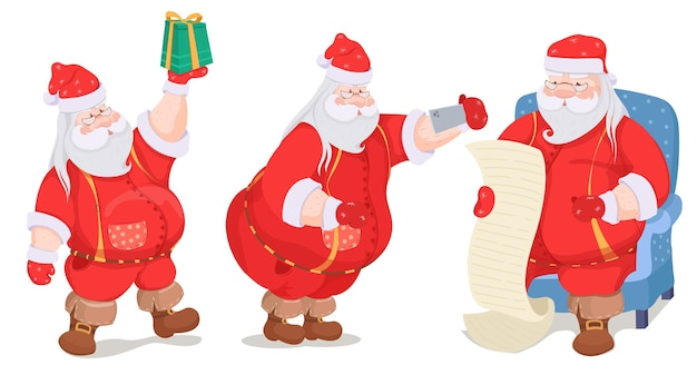 Charakter santa claus set illustration
