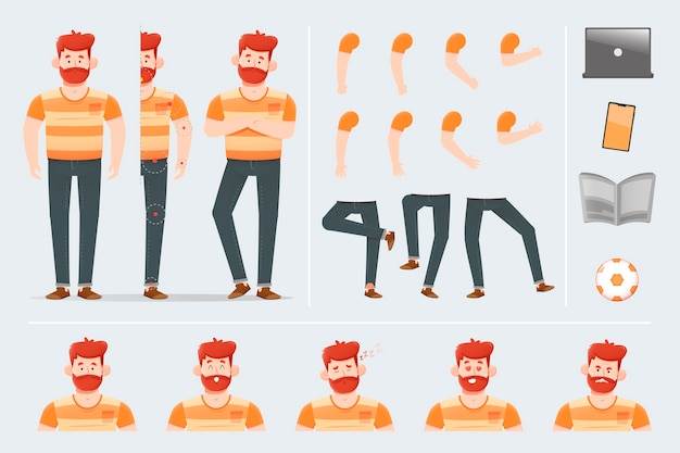 Charakter stellt illustrationskonzept auf