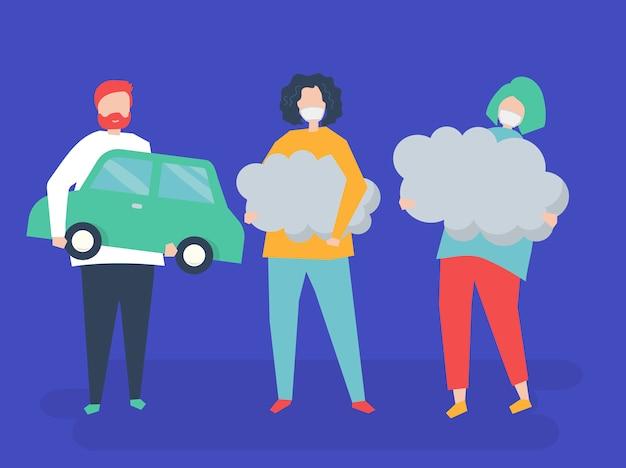 Charakter von leuten, die luftverschmutzungssymbole halten