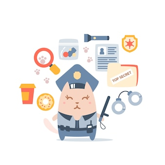 Charakter weibliche katze polizei in offiziersmütze hält einen polizeistock