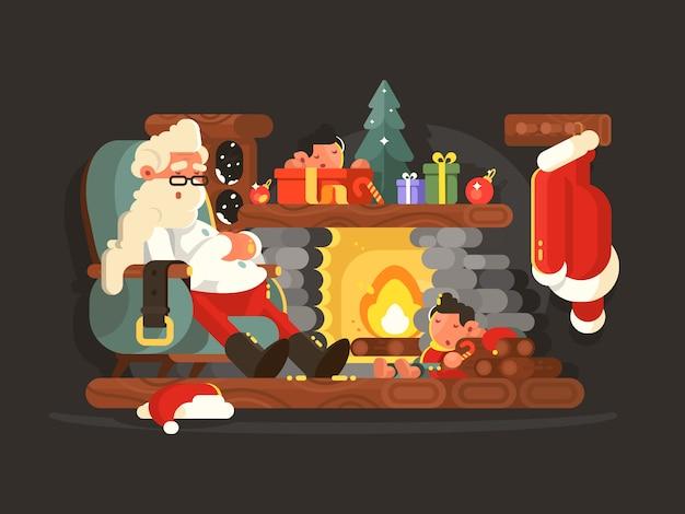 Charakter weihnachtsmann, der auf stuhl nahe kamin ruht. illustration