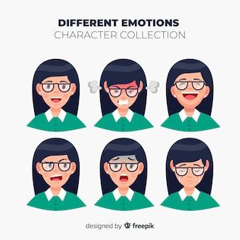 Charakter zeigt emotionssammlung