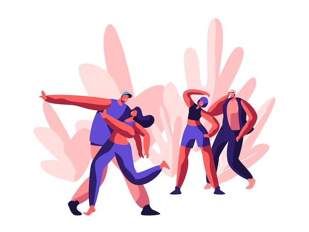 Charakter zeigt lustige disco. freudige zeit für tanz und freestyle party. jugend guy und girl activity action zusammen im tanz auf music street concert. flache karikatur-vektor-illustration