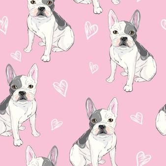 Charakterdesign-musterhintergrund der hauptbulldogge