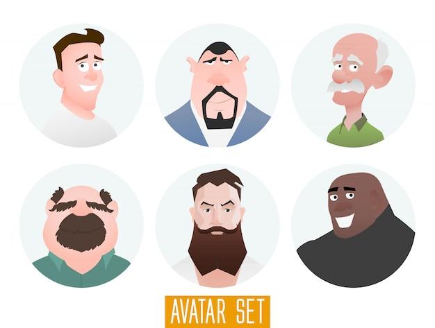 Charaktere avatare im flachen cartoon-stil. jungs mittleren und hohen alters. benutzergesichter im trendigen flachen stil.