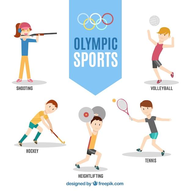Charaktere bereit für olympische spiele