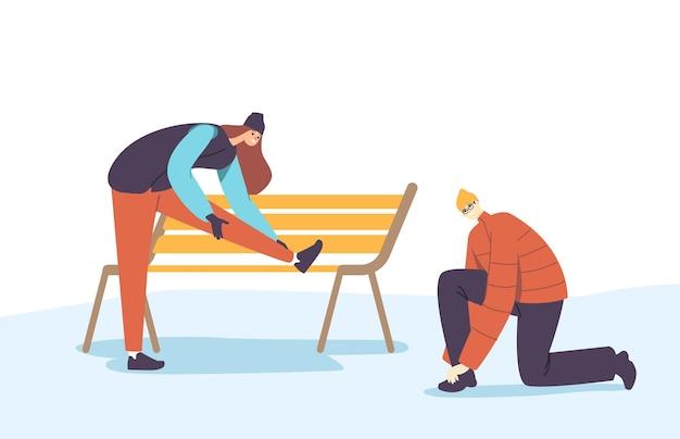 Charaktere bereiten sich vor dem training auf den wintersport vor, der sportschuhe schnürt. sportler und sportlerin binden schnürsenkel an turnschuhen
