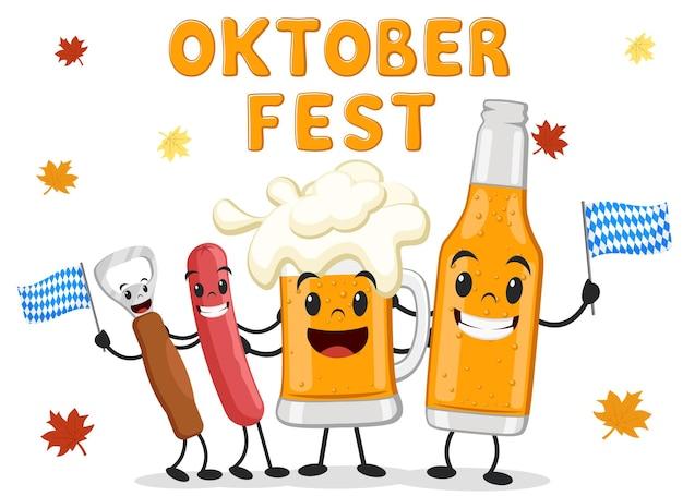 Charaktere bier, wurst und flaschenöffner umarmen sich auf weißem hintergrund. oktoberfest