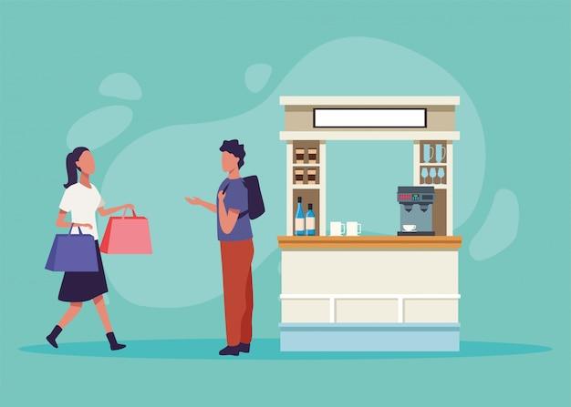 Charaktere der einkaufsaktivität des jungen paares