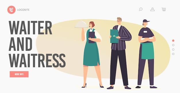 Charaktere des gastgewerbes in einheitlicher zielseitenvorlage. restaurantmitarbeiter-teamadministrator mit menü, kellnerin, die tablett unter cloche-deckel und kellner hält. cartoon-menschen-vektor-illustration