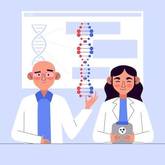 Charaktere, die dna-moleküle halten