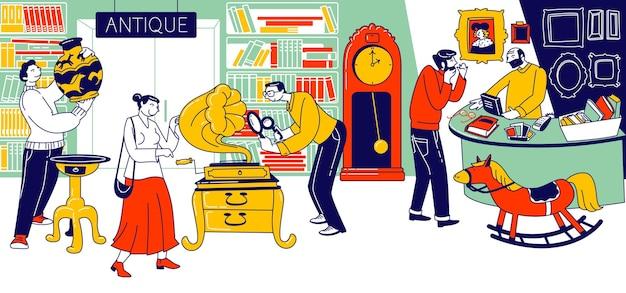 Charaktere, die einen antiquitätenladen besuchen, um einzigartige seltene dinge zu kaufen. flohmarkt, retro-basar mit verkäufer präsentiert alte sachen für käufer zum kauf, flohmarkt. lineare menschen-vektor-illustration