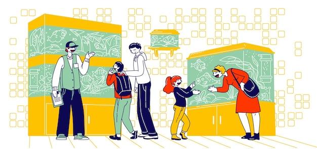 Charaktere, die fische beim schwimmen in aquarien im zoogeschäft beobachten. eltern wählen fisch für kinder. verkäufer erklären kunden von fischpflege vor dem kauf, zoomarkt. lineare vektor-menschen-illustration
