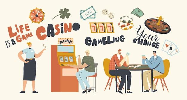 Charaktere, die glücksspiele im casino spielen, jackpot-geldpreise an spielautomaten und pokertischen gewinnen. spielersucht, glücksspiel-lifestyle, geschäftsindustrie. lineare menschen-vektor-illustration