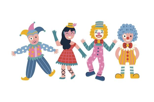 Charaktere, die karnevalskostüme lokalisiert auf weißem hintergrund tragen