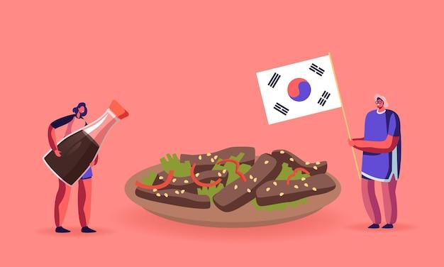 Charaktere, die koreanisches essen illustration essen. mann, der nationalflagge von korea hält