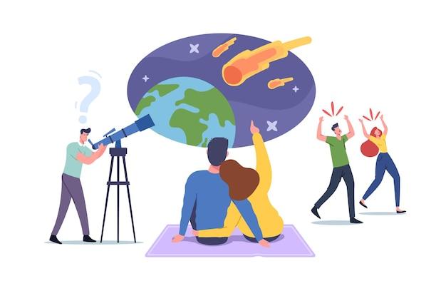 Charaktere, die meteoritenfall beobachten, mann mit teleskop blick auf naturphänomen im himmel mit fallenden asteroiden, liebespaar wünschen sich, verängstigte menschen laufen weg. cartoon-vektor-illustration