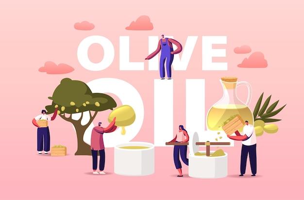 Charaktere, die natives olivenöl extrahieren