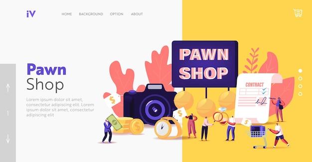 Charaktere, die schrott in die landing-page-vorlage des pfandhauses bringen. kunden kaufen und verkaufen edelmetalle, juwelen, antike münzen und gebrauchte elektrogeräte. cartoon-menschen-vektor-illustration