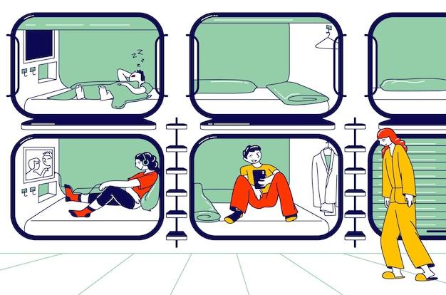 Charaktere, die sich im kapselhotel ausruhen. menschen schlafen, entspannen und erholen sich in einem kompakten zimmer mit fernseher und schlafbox, economy-unterkunft für reisende. lineare vektorillustration