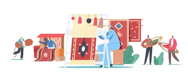 Charaktere, die teppich auf handwebstuhl weben und auf asiatischem basar verkaufen. traditionelle orientalische kunst, handarbeit. winzige leute mit riesiger ausrüstung und fäden für teppiche. cartoon-menschen-vektor-illustration
